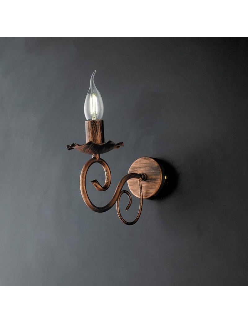 Alma applique in ferro laccato nero con decorazione rame 1 luce