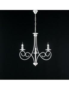 Alma lampadario in ferro laccato bianco con decorazione shabby 3 luci