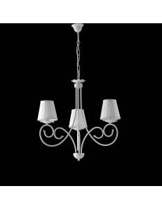 Alma lampadario in ferro laccato bianco con decorazione shabby e paralumi bianchi 3 luci