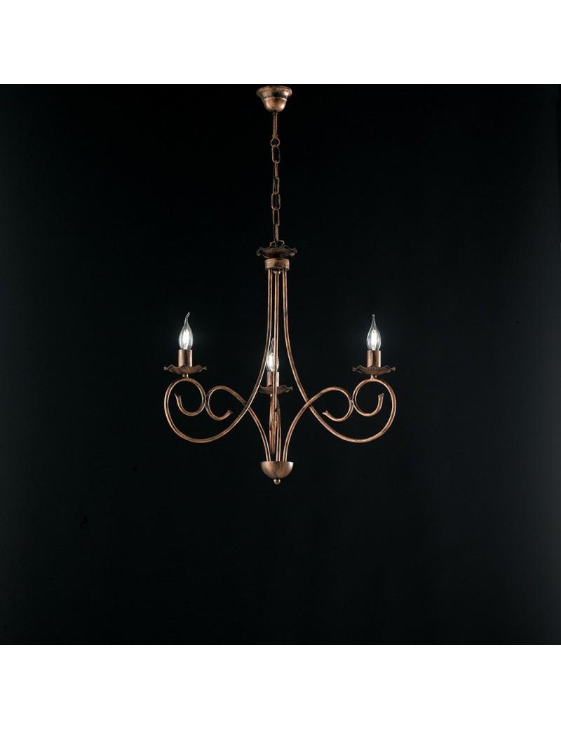 Alma lampadario in ferro laccato nero con decorazione rame 3 luci