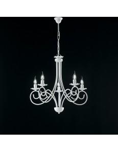 Alma lampadario in ferro laccato bianco con decorazione shabby 5 luci