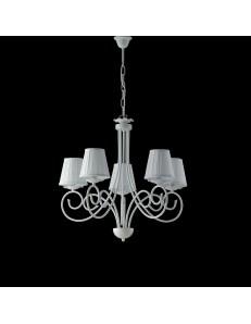 Alma lampadario in ferro laccato bianco con decorazione shabby e paralumi bianchi 5 luci