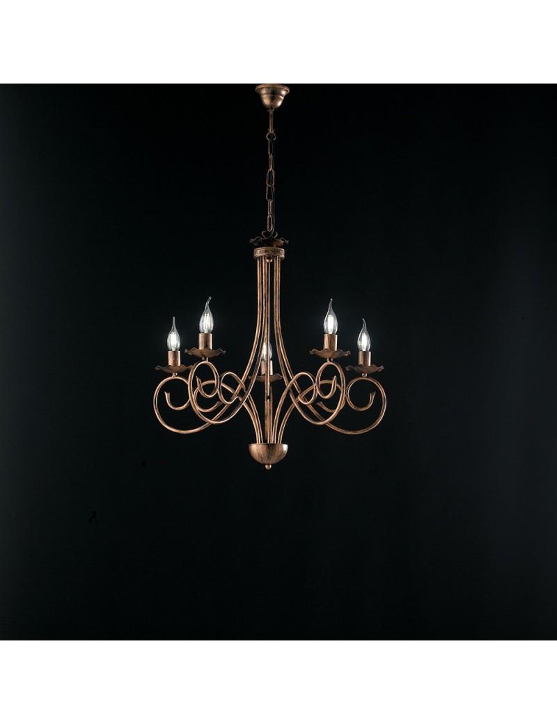 Alma lampadario in ferro laccato nero con decorazione rame 5 luci