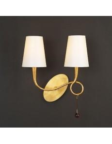 Paola applique sinuosa oro classica con doppio paralume crema