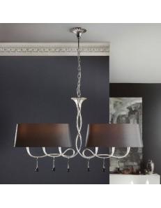 Paola lampadario bilanciere argento con paralumi ovali neri sinuoso