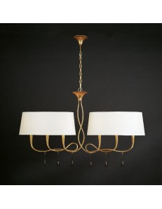 Paola lampadario bilanciere oro con paralumi ovali crema elegante