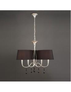 Paola lampadario salone argento 3 braccia paralumi ovali neri sinuoso