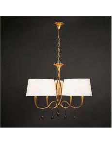 Paola lampadario salone oro 3 braccia paralumi ovali crema